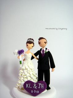 Cute couple customized wedding cake topper.Gift.Decoration