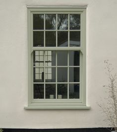 uPVC vertical sliding sash (box) windows in London (Croydon, Bromley, Sutton) Surrey, Kent & Sussex. South London's leading installer and supplier of sash windows. Sash Windows London, Upvc Sash Windows, Green Windows, Dormer Windows, Coloured Upvc Windows, Exterior Windows, Exterior Trim, Exterior Colors, Cottage Windows