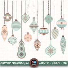 """Christmas Ornaments ClipArt """" CHRISTMAS ORNAMENTS """" pack,Christmas Clipart,Christmas Balls,Winter,Snowflakes,Christmas Decorations Crs040 by SAClipArt on Etsy"""