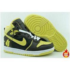 newest 06b08 8c6d2 Mens Nike Dunk High Premium Black Yellow White Flower