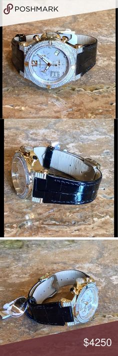 """Renato Wilde-Beast 2.25CT Swiss Quartz Watch NWT Authentic Renato Women's Wilde-Beast Diamond Watch, Style G15.211. - Genuine Black Alligator Leather - Adjustable from 6-1/2"""" to 8-1/2"""" Wrist - Dual Deployment Clasp - Stainless Steel Caseback - White Onyx Face - Sapphire Crystal Scratch Resistant - Water Resistance 10 ATM - 2.25 CTW Diamonds of Pure Perfection VS Clarity, E Color, 78 Grams - Limited Edition 45/180 - Swiss Quartz Movement - Original Box & Case, - Authenticity Card - Care…"""