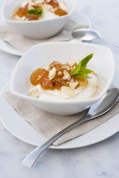 Greek yoghurt with candied grapes and toasted almond flakes at Grace Santorini.