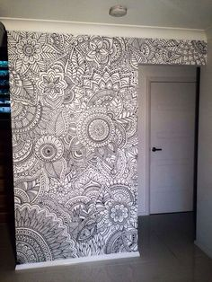 Zentangle coloring page wall