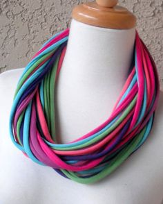 Color Burst Multicolor Mix T-Shirt Fabric Scarf, Circular, Eternity, Cowl… Scarf Necklace, Fabric Necklace, Fabric Jewelry, Beaded Necklace, Diy Scarf, Scarf Shirt, T Shirt Yarn, Shirt Scarves, Recycled T Shirts