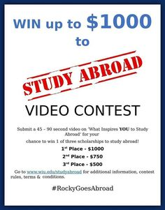"Deadline is approaching!! two days to go!! Don't miss the wonderful opportunity to  ""win $1000 scholarship by just posting a video"" !! Deadline: November 30th. For more info: http://www.wiu.edu/sao/study_abroad/ #WIU #RockyGoesAbroad #scholarship"