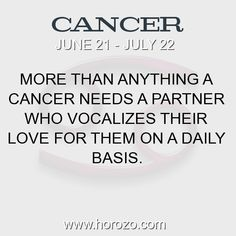 Fact about Cancer: More than anything a Cancer needs a partner who... #cancer, #cancerfact, #zodiac. More info here: https://www.horozo.com/blog/more-than-anything-a-cancer-needs-a-partner-who/ Astrology dating site: https://www.horozo.com
