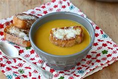 Acorn Squash Soup with Cheesy Croutons