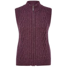 Viyella Petite Cable Knit Gilet, Purple (£40) ❤ liked on Polyvore featuring outerwear, vests, petite, zip vest, sleeveless waistcoat, purple vest, cable knit vest and viyella
