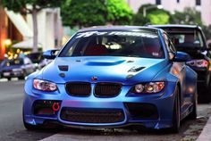 Matte blue metallic wrap on BMW M3. We collect and generate ideas: ufx.dk