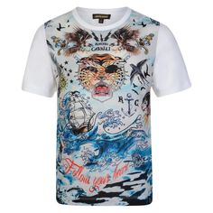 11e7184513 Roberto Cavalli Junior Boys White and Blue Washed T-Shirt with Tiger and  Tattoo Print and White Sleeves. Chocolate Clothing