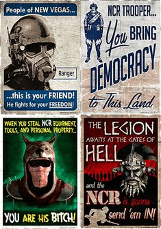 Set of 4 2x3 Fallout 3 New Vegas NCR MAGNETS by MyGeekBoutique, $9.95