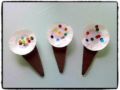 cornets de glace, été, bricolage enfant