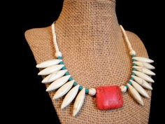 Red Howlite Square Bead and White Howlite Dagger Bead with Turquoise Howlite Necklace: Beaded Necklaces, Indian Style Beaded Necklaces by CulbertsCreations on Etsy