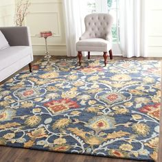 Shop Safavieh Handmade Blossom Fiorello Modern Floral Wool Rug - On Sale - Overstock - 11040997 - 8' x 10' - Navy/Multi Rug Direct, Selling Furniture, Modern Floral, Online Home Decor Stores, Safavieh, Rugs, Beautiful Rug, Colorful Rugs, Area Rugs