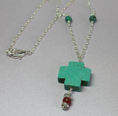 Chunky Turquoise Cross Genuine Turquoise Agate Necklace Celtic Gemstone Necklace. $24.00, via Etsy.