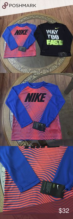 NIKE DRI-FIT (6) KIDS LONG SLEEVE SHIRTS SET Brand New Nike Dri-Fit Size:6 Kids Long Sleeve Shirts Set. NIKE DRY fabrics move sweat from your skin for quicker evaporation-helping you stay dry, comfortable and focused on the task at hand. Nike Shirts & Tops Tees - Long Sleeve
