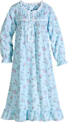 Cotton Flannel Nightgown in Blue Floral Cotton Nighties, Cotton Dresses, Nightgown Pattern, Flannel Nightgown, Baby Frocks Designs, Kids Nightwear, Nightgowns For Women, Dress Sewing Patterns, Dress Suits