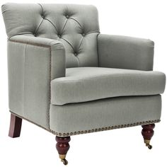 @Overstock.com - Safavieh Manchester Green Grey Club Chair - This Manchester green grey club chair has a tufted back and traditional English caster feet. The fabric is a nubby cotton in a green grey blend color.  http://www.overstock.com/Home-Garden/Safavieh-Manchester-Green-Grey-Club-Chair/6002301/product.html?CID=214117 $332.09