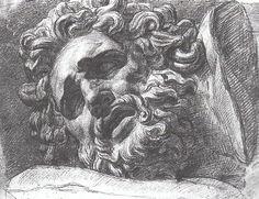 Александр Иванов. Голова Лаокоона. Карандашный рисунок со слепка. 1820-ые годы. ГМИИ-Музей личных коллекций