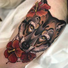 "Monika Boo on Instagram: ""Fun wolfie from last week! #wolf #wolftattoo #neotraditionaltattoo #neotraditional #neotradeu #tattoosnob #skinartmag #tattooistartmagazine"" Up Tattoos, Future Tattoos, Body Art Tattoos, Cool Tattoos, Flash Tattoos, Tatoos, Traditional Tattoo Animals, Traditional Tattoo Design, Traditional Tattoos"