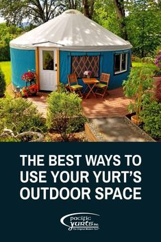 Now might be the perfect time to begin maximizing your yurt's outdoor space! Need ideas? We have you covered. #PlayGameOnline Pacific Yurts, Luxury Yurt, Yurt Interior, Yurt Living, Traditional Porch, Wrap Around Deck, Building A Porch, Covered Decks, Earthship