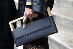 49 structural wooden and leather clutch bag. Bauhausaesthetics @Patricia Smith Smith Smith Smith Smith ward.