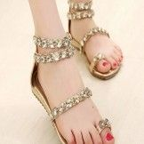 This is the fancy style flat foot wear with the golden style beats sandals for the ladies. Girls Heels, Girls Sandals, Ladies Shoes, Fashion Flats, Casual Shoes, High Heels, Footwear, Fancy, Boots