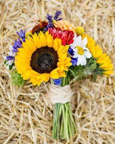 Sunflower Bridal Bouquet , Rustic wedding http://www.itakeyou.co.uk/wedding-ideas/real-weddings/barn-weddings.htm