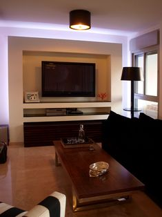 Tv Wall Units Design, Pictures, Remodel, Decor and Ideas - page 7. Drywall with glass shelf liners