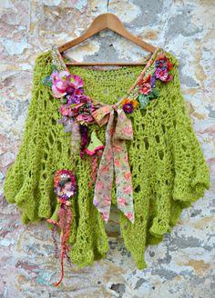 Bohemian Romantic artsy crocheted capelet shabby by irinacarmen