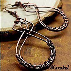 Wire & Metal Designs - Jewelry and Home Decor - I am constantly inspired by shapes, by nature and things I see everyday. Wire Jewelry Earrings, Wire Wrapped Earrings, Metal Jewelry, Earrings Handmade, Handmade Jewelry, Rock Jewelry, Jewellery, Copper Earrings, Jewelry Crafts