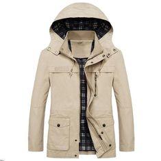 Solid Waist Drawstring Applique Pockets Hooded Jacket - Sand - - Men's Clothing, Men's Tops & T-Shirts, Men's Shirts # # Stylish Shirts, Stylish Outfits, Hooded Jacket, Jacket Men, Winter Fashion, Menswear, Men Casual, Mens Fashion, Fashion Edgy