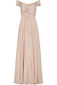 Marchesa Off-the-shoulder embellished silk-chiffon gown