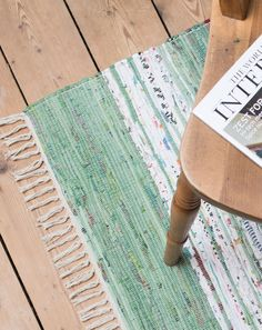 Green and white Holger Scandinavian rag rug and hallway runner from Skandihome, home of Swedish and Scandinavian rugs and gifts