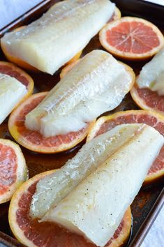 Grapefruit and Honey Glazed Baked Cod Recipe with Creamy Coconut Rice. Grapefruit and Honey Glazed Baked Cod Recipe with Creamy Coconut Rice. This bright dinner is quick and easy. Say Goodbye to boring old fried fish and . Cod Fish Recipes, Baked Cod Recipes, Seafood Recipes, Cooking Recipes, Baked Cod Fillets, Oven Baked Cod, Healthy Snacks, Healthy Recipes, Breakfast Healthy