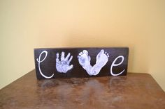 Love Handprint Footprint Wood Sign by GiftsbyGaby on Etsy - when Jax is older. Baby Crafts, Crafts To Do, Wood Crafts, Craft Projects, Crafts For Kids, Projects To Try, Arts And Crafts, Craft Gifts, Diy Gifts