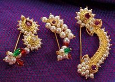 Essential guide for a bride to best traditional maharashtrian jewellery. Latest designs of ornamnets like Vajratik, kolhapuri saj ,nath have been showcased Traditional Indian Jewellery, Indian Jewellery Design, Jewelry Design, Nose Pin Indian, Nath Nose Ring, Nose Ring Designs, Nose Jewelry, Silver Jewelry, Gold Jewellery