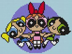 The Powerpuff Girls Perler Bead Pattern / Bead Sprite Pony Bead Patterns, Pearler Bead Patterns, Kandi Patterns, Perler Patterns, Beading Patterns, Quilt Patterns, Perler Bead Art, Perler Beads, Powerpuff Girls
