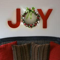 Painted letters from a craft store and a handmade wreath to decorate for the winter season