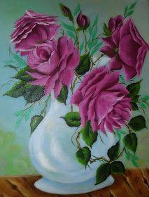 tela acrílica vaso rosas