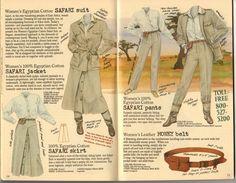 Banana Republic Summer 1986 No. 28 Women's Safari Jacket, Safari Pants, Safari Skirt, Safari Suit, Women's Money Belt
