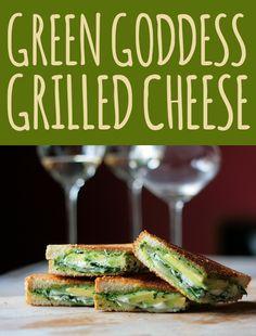 pesto, avocado, mozzarella and goat cheese grilled cheese