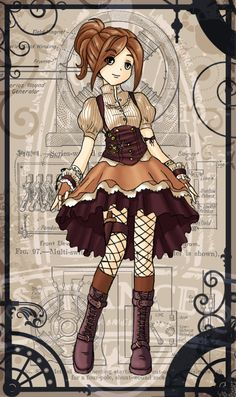 Steampunk Dress by ~lemonfox2002 on deviantART -- with a slightly longer skirt, I think this is what I want for the Navigator