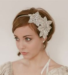 1920s inspired hairstyle with silver rhinestone beaded flapper inspired headband