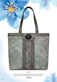 Large two tone grey handbag with gunmetal studs @ R695    #handbag #accessories #fashionista #instabag #stylish #baggram #fashionhandbag ronel.cazabella@yahoo.com Fashion Handbags, Tote Bag, Grey, Accessories, Gray, Totes, Tote Bags, Jewelry Accessories