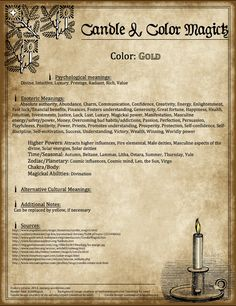 Candles:  #Candle  #Color #Magick ~ Gold.