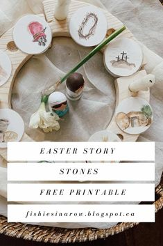 Easter Story Retelling (& An Easter Story Stone Printable) - Fishies In A Row Bible Lessons For Kids, Bible For Kids, Easter Crafts, Holiday Crafts, Passover And Easter, Montessori Trays, Story Retell, Easter Hunt, Easter Story