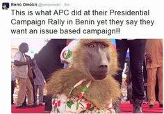 CRAZY! APC Dresses Up Baboon in PDP Clothing at Benin Campaign Rally...