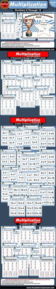 $5.97 THIS MULTIPLICATION WORKBOOK INCLUDES:  * 15 Multiplication Worksheets 0 - 12 + two Bonus Quizzes * 156 Flash Cards On 13 Worksheets * 15 Answer Key Worksheets * 1 Multiplication Achievement Certificate
