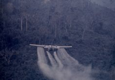 An aircraft spraying what is most likely Agent Orange